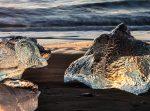 Icebergs on beach at sunrise, Iceland